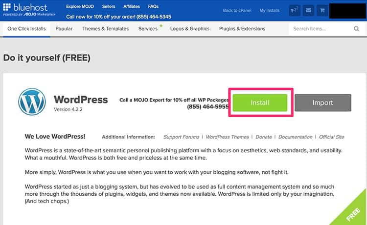 How To Install WordPress Step 2