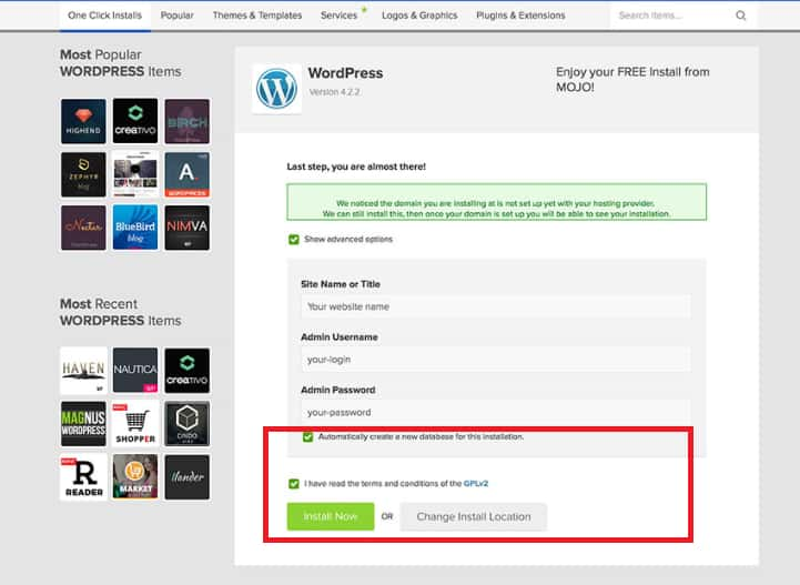 How To Install WordPress Step 4