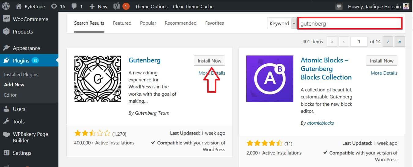 How To Install Gutenberg WordPress Editor Step 1